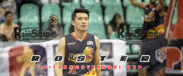 List of Rain or Shine Elasto Painters Roster 2017 PBA Governors' Cup