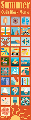 photo collage of 28 different quilt blocks depicting summer