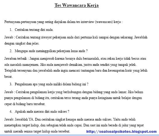 Contoh Pertanyaan Wawancara Kerja PT Freeport Indonesia Gratis