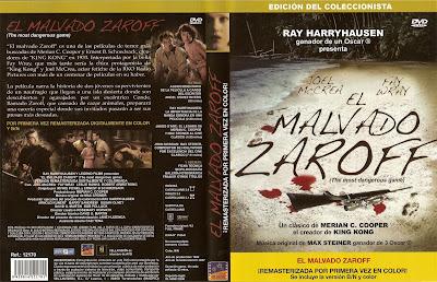 Carátula dvd: El malvado Zaroff (1932) The Most Dangerous Game   El juego más peligroso   Los sabuesos de Zaroff