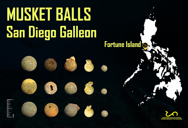 Round bullets or musket balls from San Diego Shipwreck