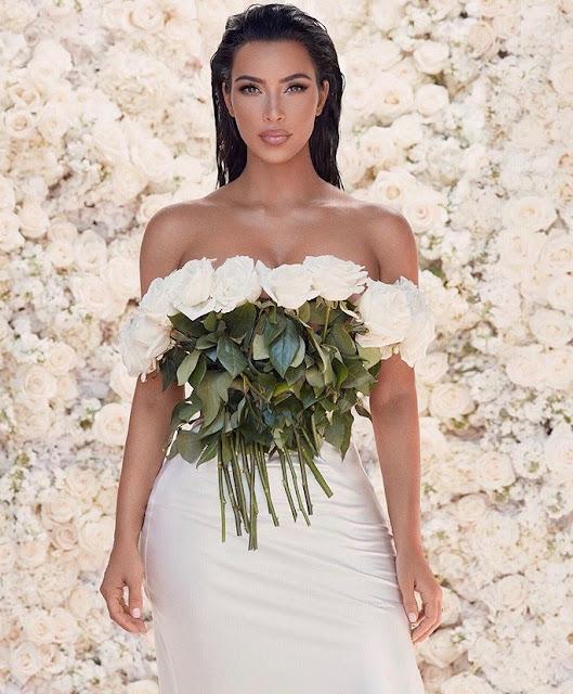 Kim Kardashian in elegant and romantic dress