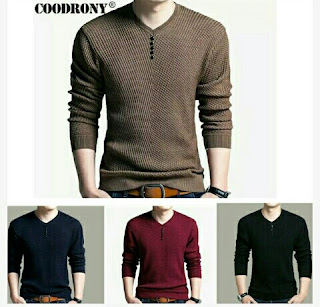 Coodrony: Men's V-Neck Long Sleeve Knitted Shirts