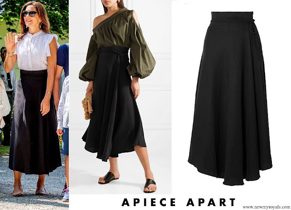Crown Princess Mary wore APIECE APART Rosehip Tencel and linen-blend wrap skirt
