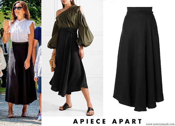 Crown Princess Mary wore APIECE APART Rosehip Tencel and linen-blend wrap skirt