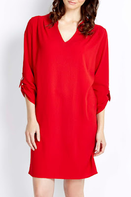 Wallis Red Woven V Neck Tunic Dress