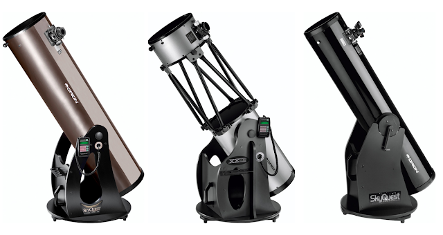 "Orion Telescopes and Binoculars 10"", 12"" and 8"" Dobsonian Telescopes are ideal for viewing deep-sky objects such as M42, the Orion Nebula and galaxies M81 and M82 in Ursa Major. Image credits: Orion Telescope and Binoculars."