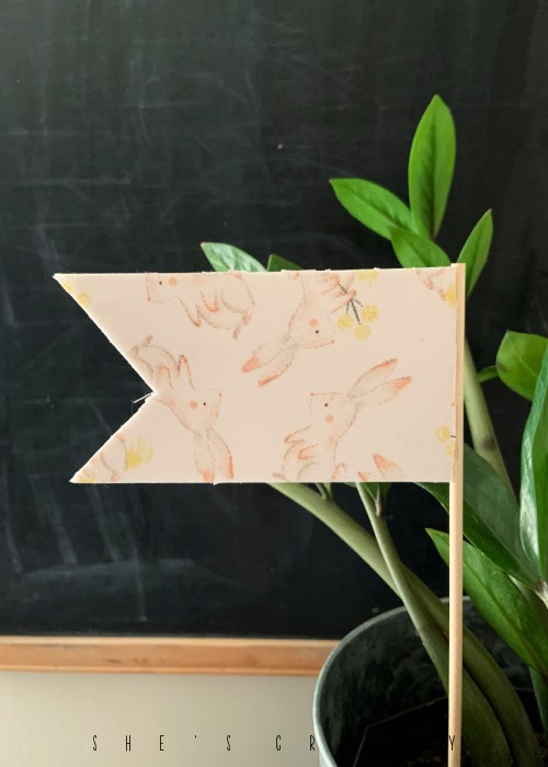 Plant Flag made from fabric on a dowel