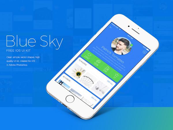 Download Blue Sky iOS UI Kit PSD Free
