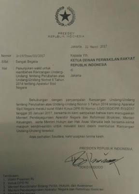 Presiden Sudah Menandatangani Untuk Pembahasan Revisi UU ASN Inisiatif DPR Berikut Surat Edarannya
