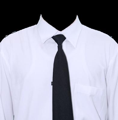 Contoh template kemeja putih dasi hitam