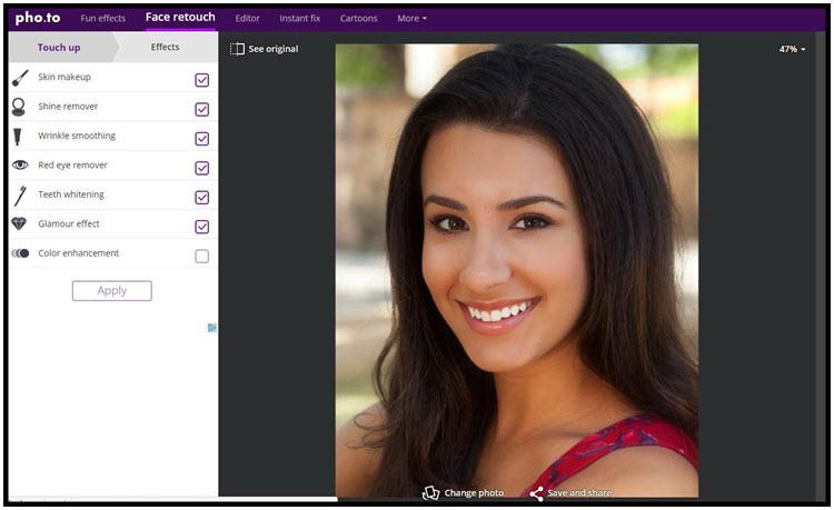 Face retouch :  Επεξεργαστείτε πρόσωπα και αφαιρέστε τις ατέλειες και άλλα αρνητικά χαρακτηριστικά