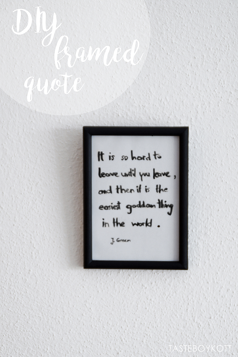 DIY framed quote print as a last minute gift idea
