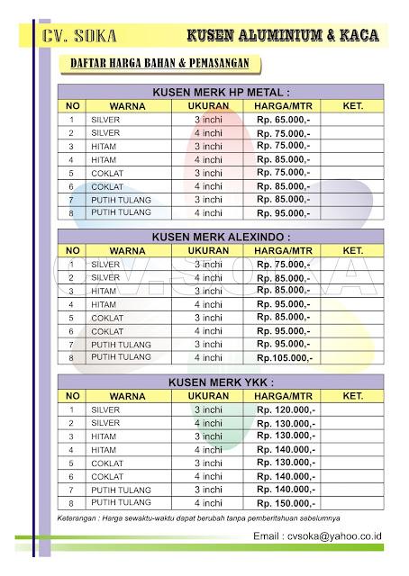 CV. SOKA: Detail Harga Kusen Aluminium Surabaya - Sidoarjo