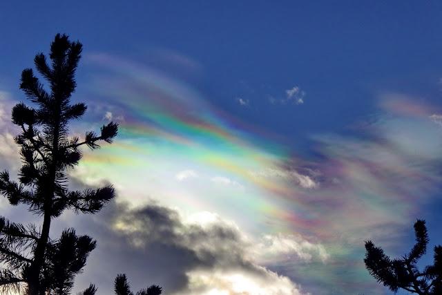 Wolken, irisierend, Himmel, bunt, Regenbogenfarben