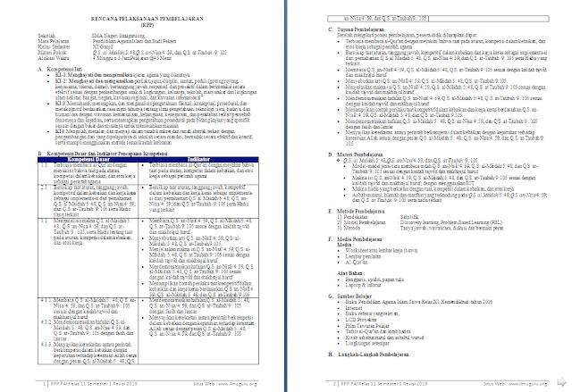 RPP 1 Lembar PAI dan Budi Pekerti Kelas 11 SMA/MA Semester 1