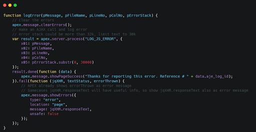 APEX JavaScript Error Logging