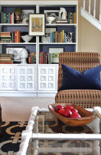 living room bookshelves via emilyaclark.com
