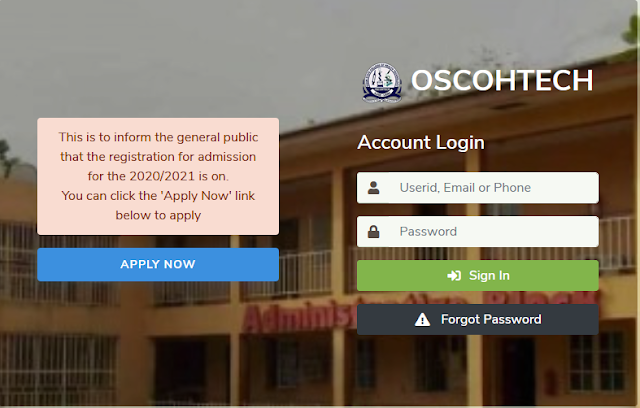 OSCOHTECH Admission Form 2020/2021 | ND, HND, Diploma & Cert.