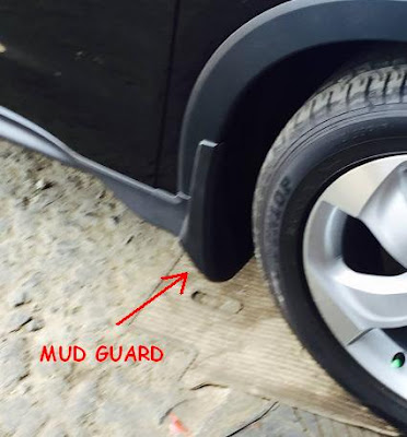 Aksesoris Honda HR-V : Contoh Mud Guard Terpasang di Roda Depan