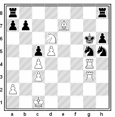 Posición de la partida de ajedrez Evgeny Bareev - Gyula Sax (Hastings 1990-91)