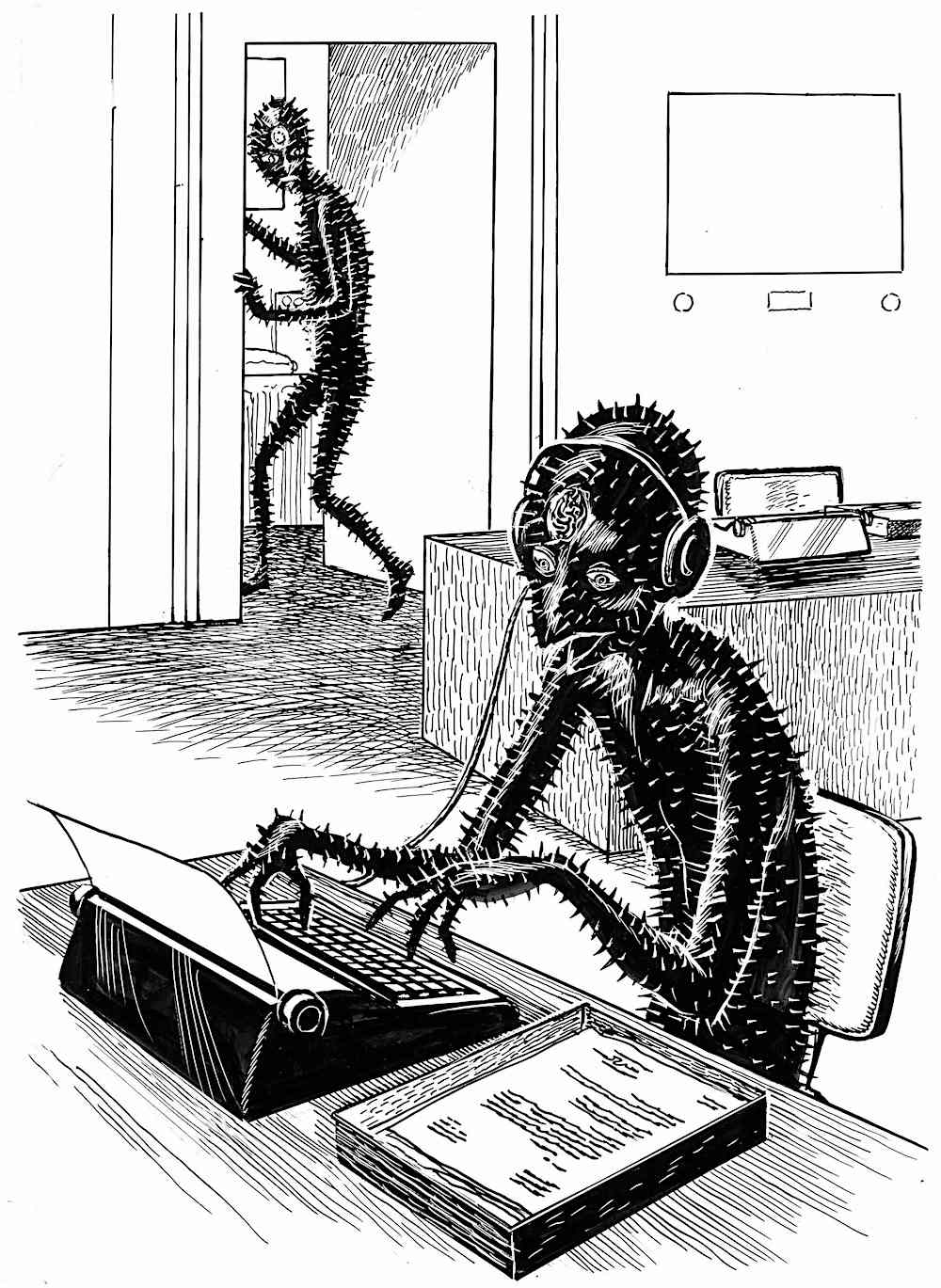 Ed Emshwiller illustration of alien creatures working in an office 1963