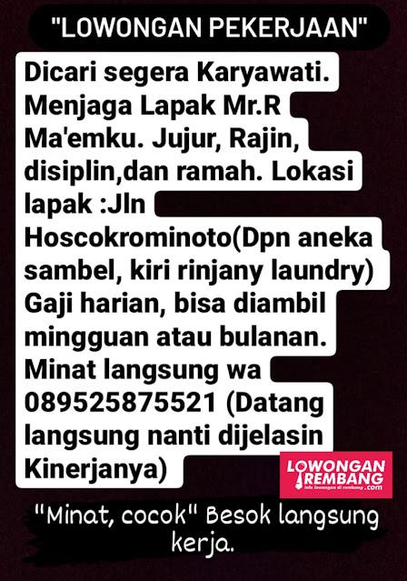 Lowongan Kerja Karyawati Lapak Mr. R Ma'emku Rembang