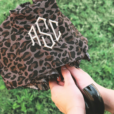 Leopard Umbrella with monogram from marleylilly.com