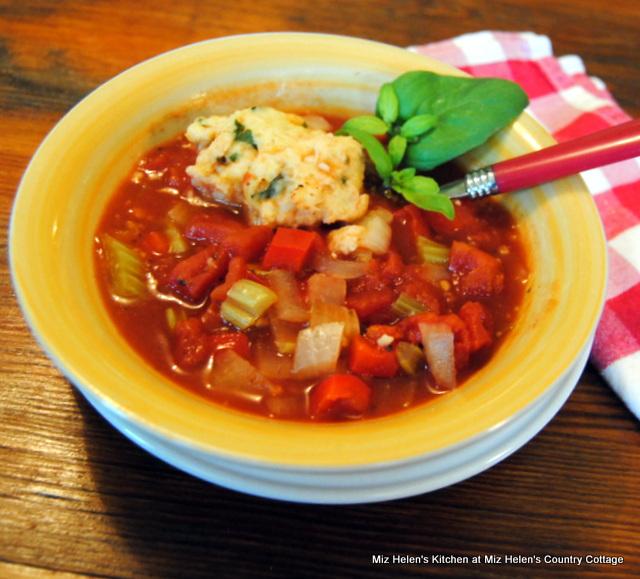 Tomato Basil Soup Plus Dumplings at Miz Helen's Country Cottage