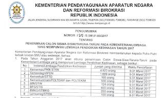 Informasi Penerimaan Calon Siswa-Siswi/Taruna-Taruni Pada Kementerian/Lembaga Yang Mempunyai Lembaga Pendidikan Kedinasan Tahun 2017