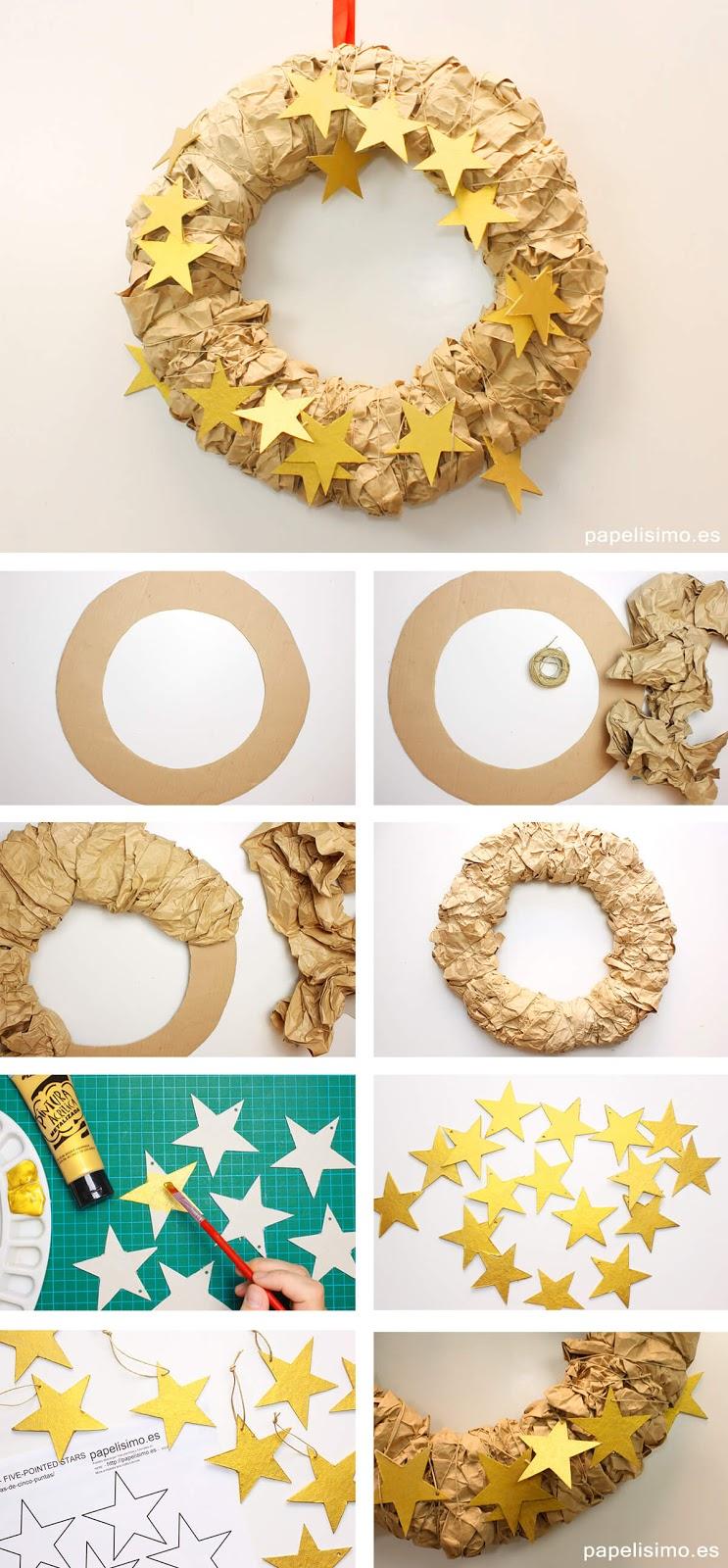 Guirlanda de Natal reciclada feita com papelão