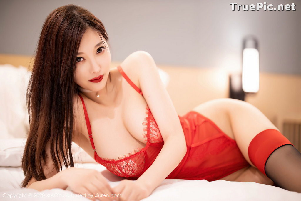Image XiaoYu Vol.413 - Chinese Model - Yang Chen Chen (杨晨晨sugar)- Red Crystal-clear Lingerie - TruePic.net - Picture-43