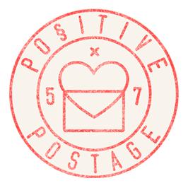 Positive Postage Stamp Logo by Kristen Drozdowski
