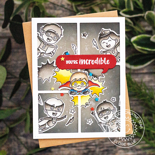 Sunny Studio Stamps: Comic Strip Speech Bubbles Dies Super Duper Super Hero Themed Card by Eloise Blue