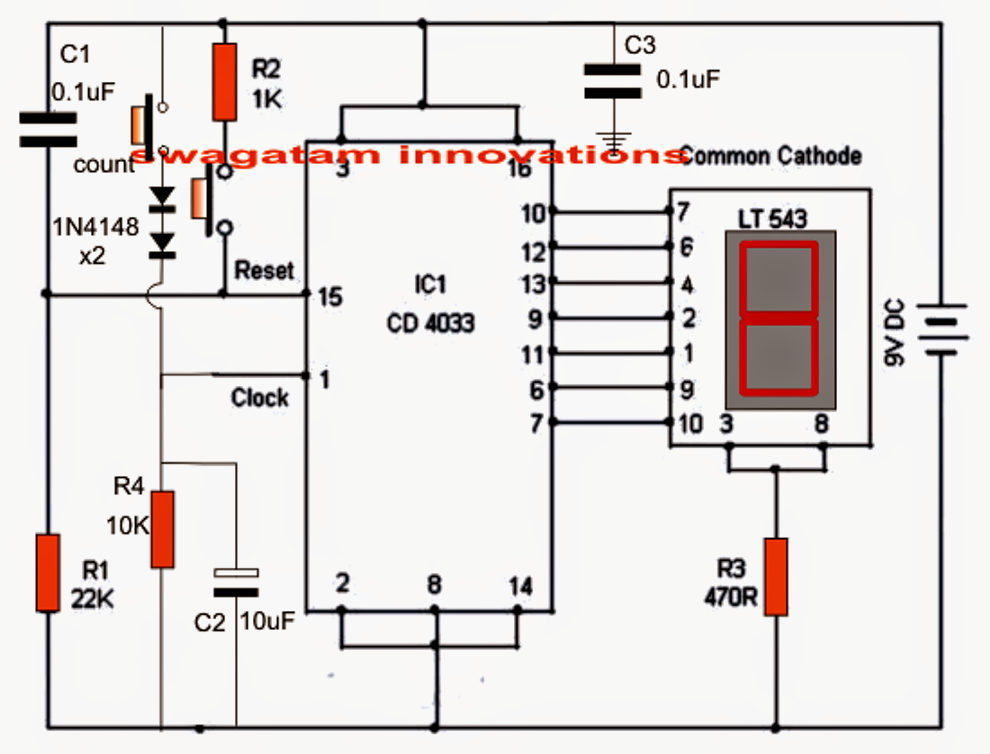 making an electronic scoreboard using ic 4033 counter circuit
