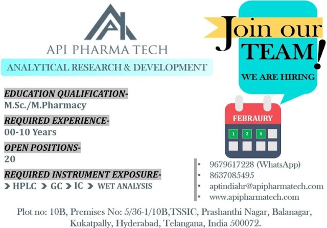 API Pharmatech | Freshers and Expd in Analytical R&D at Hyderabad | Send CV