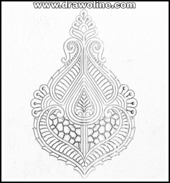 Butta khaka design drawing for hand emroidery saree/khaka design drawing for embroidery/butta saree design patterns pencil sketch