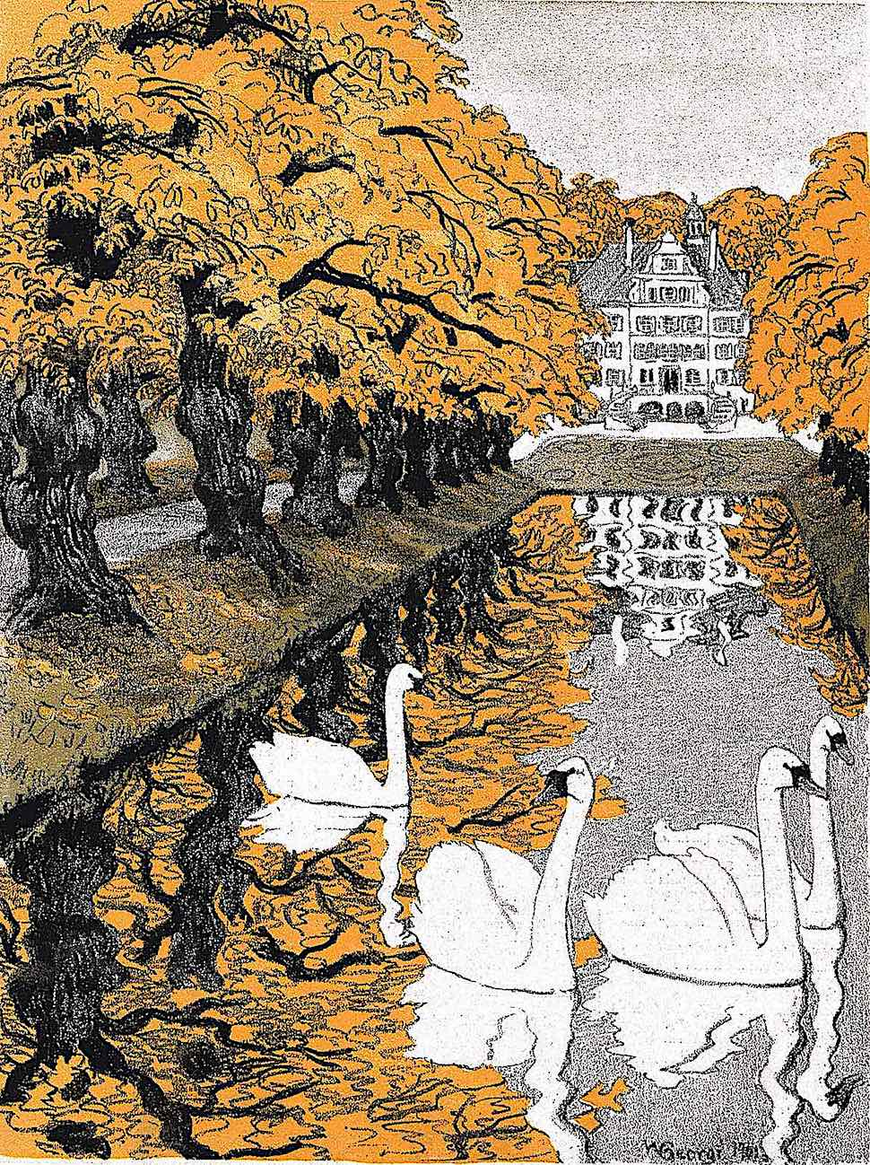 a 1902 illustration of a pond with geese on an estate