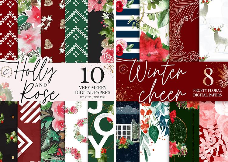 Watercolor Holiday Digital Paper Pack,  Winter Floral scrapbooking patterns, Christmas Planner Pritables