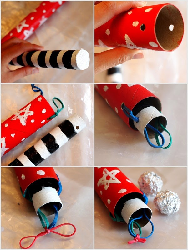 how to build a toy cardboard roll rocket launcher with kids
