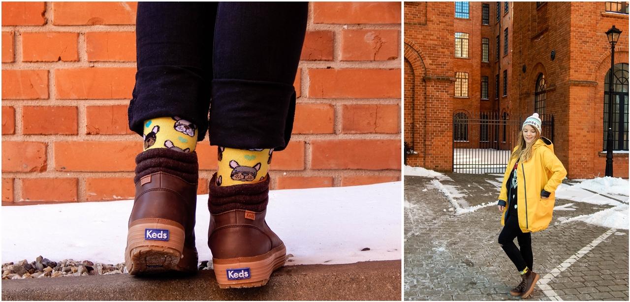 11 agagu żółta szeroka kurtka płaszcz z kapturem polskie marki czapka miłość pan tu nie stał łódź moda blogerka keds kolorowe skarpetki kelly bubble