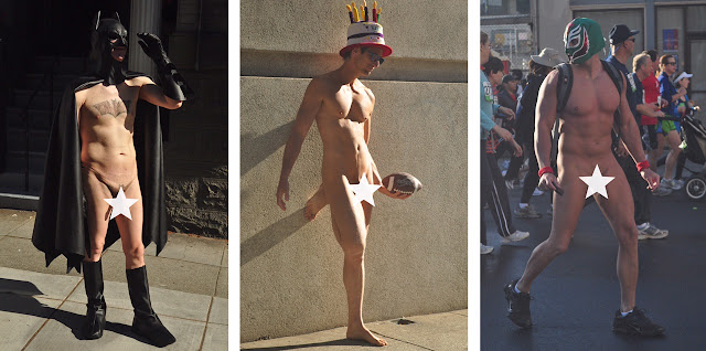 naked American men male exposed Bay to Breakers San Francisco erect penis cock