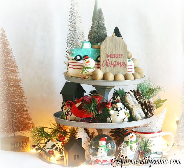 DIY, Craft, Dollar, Tree, Tiered, Tray, Christmas, Decorating, Easy, Simple, Economical, Athomewithjemma