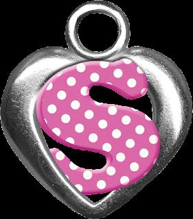 Abecedario Rosa con Lunares Blancos dentro de Corazón Plateado.