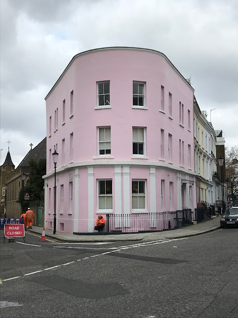 Unidentified pink building, Penzance Place, Notting Hill, London