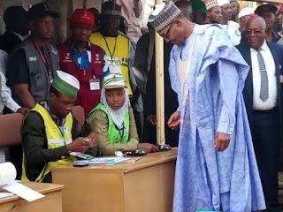 Buhari, Wife Aisha Buhari Vote In Daura (Photos/Video)