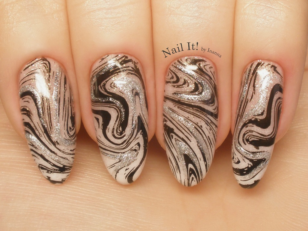 "Marble Swirl Stamping Nail Art (with Indigo Nails Mineral Bases ""Delikates"" and ""Wake Up No Make Up"")"