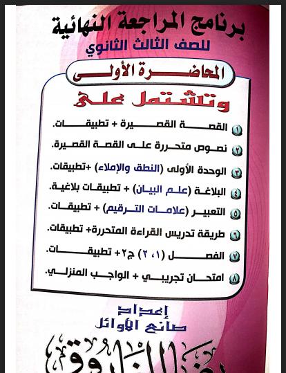 برنامج المراجعة النهائية فى اللغة العربية للصف الثالث الثانوى 2021 المحاضرة الاولى للاستاذ / رضا الفاروق