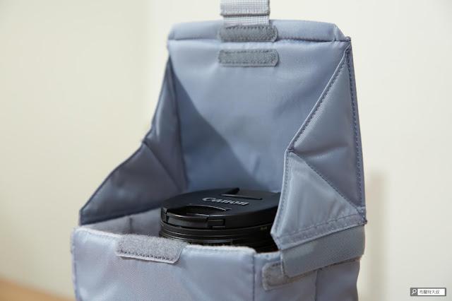 【開箱】輕巧收納好方便,HAKUBA 可折相機內袋 - Canon EOS RP 放進去多了一個鏡頭蓋的高度