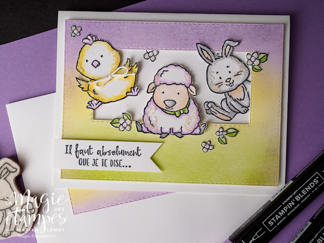 carte avec le jeu d'étampes Bienvenue à Pâques:
